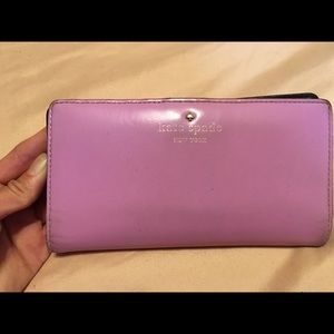 Kate Spade Stacy purple navy blue leather wallet